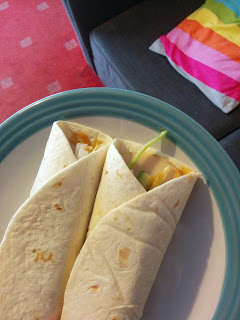 Two Sweet Chilli Chinese Wraps with Spring Onion and Cucumber