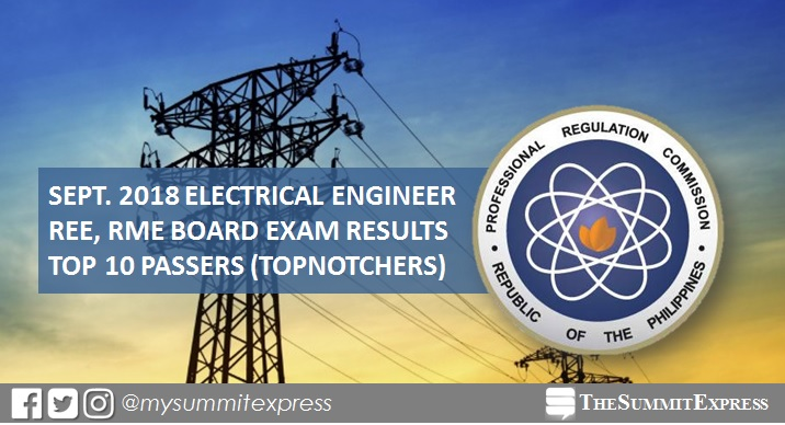 top 10 September 2018 Electrical Engineer REE, RME board exam result