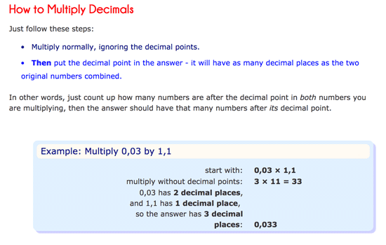 How to multiply decimals in Mathsisfun
