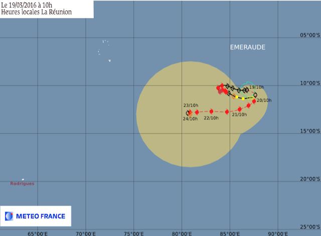 Trajectoire et intensité prévues pour la forte tempête tropicale Emeraude