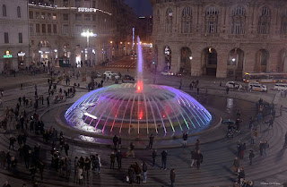 The Piazza de Ferrari in the centre of Genoa is always a hub of lively activity
