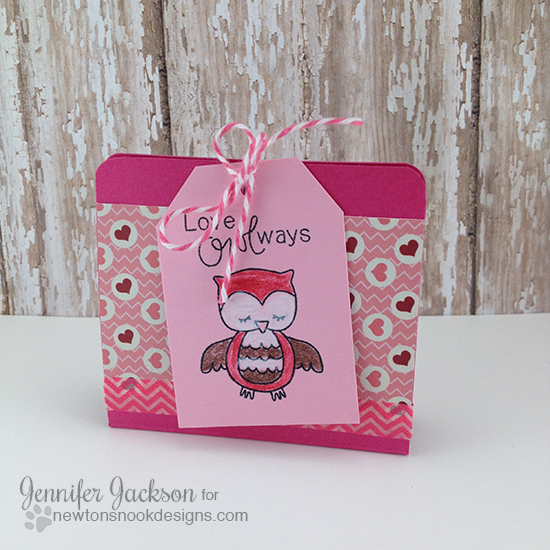 Ghirardelli treat holder with owl by Jennifer Jackson | Sweetheart Tails Stamp set by Newton's Nook Designs!