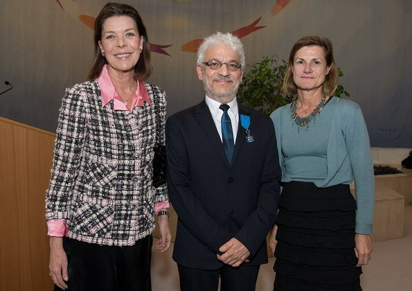 Princess Caroline Hanover, Cultural Affairs Director of Principality of Monaco, Jean-Charles Curau, Ambassador of France, Marine de Carné-Trécesson