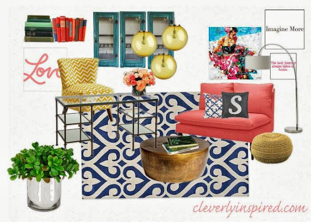 Coral, mustard and navy office design board