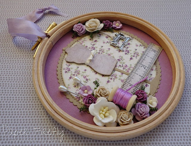 "Decorated 5"" embroidery hoop in lilac with sewing theme"