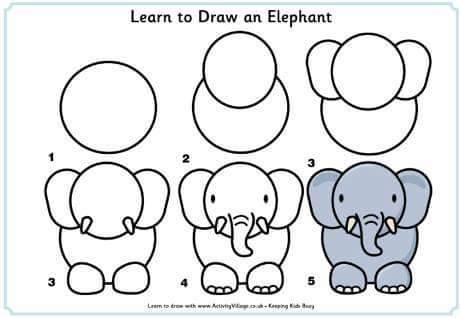Learn to draw elephant for kids