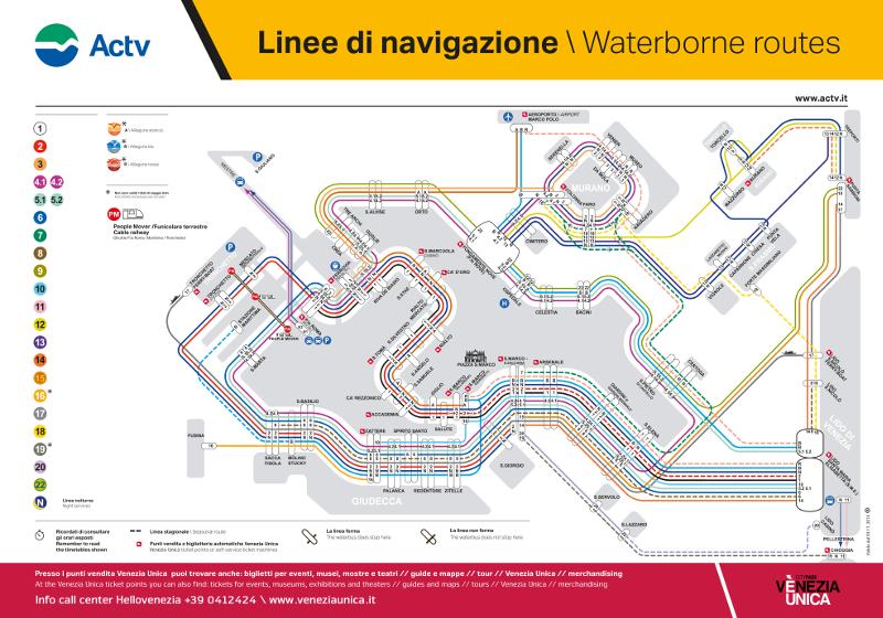 Mapa de las líneas de vaporetto en Venecia