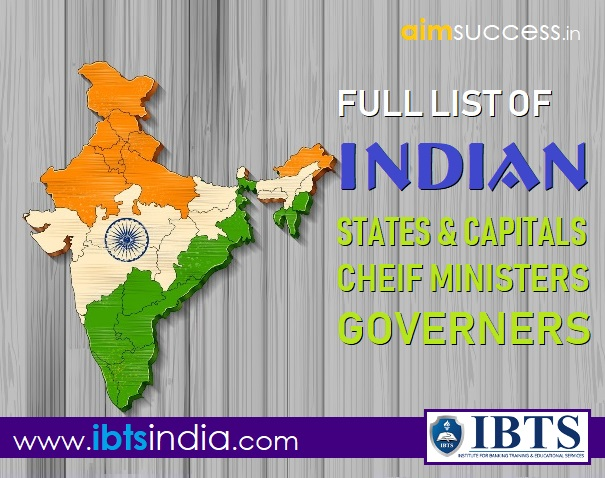 Full List of Indian States, Capitals & their Chief Ministers