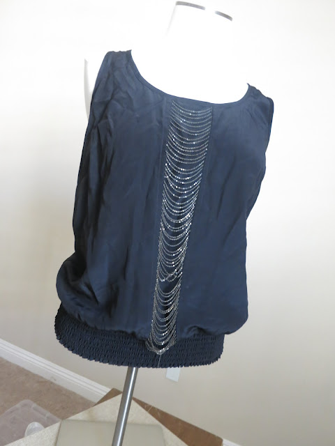 {SALE} Black Tank with Silver chain detail Size M