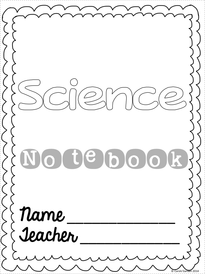 Science Notebook Cover Coloring Pages Sketch Coloring Page
