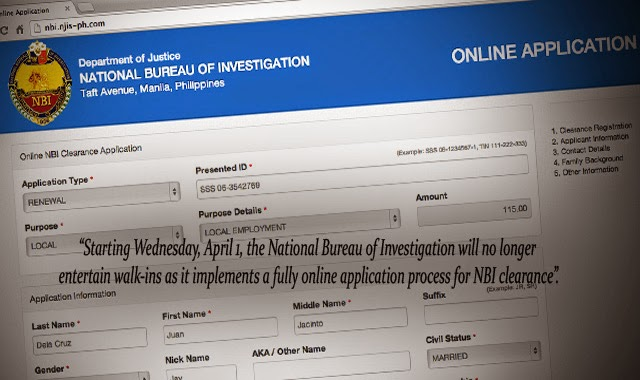 Get NBI Clearance Online National Bureau of Investigation will no Longer Entertain Walk-ins