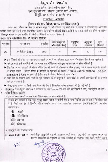 Uttar Pradesh Power Corporation Ltd. Recruitment 2019 Notification, UPPCL vacancy notice, notice, UPPCL - Recruitment 2019, UPPCL - April Recruitment 2019, UPPCL Vacancy, UPPCL  - Recruitment 2019 Technicians (line), Technicians (line) Recruitment 2019, UPPCL Recruitment, UPPCL Vacancy, UPPCL Vacancy 2019, UPPCL Job,
