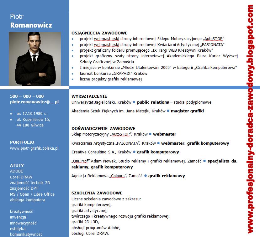 curriculum vitae wzór grafik komputerowy