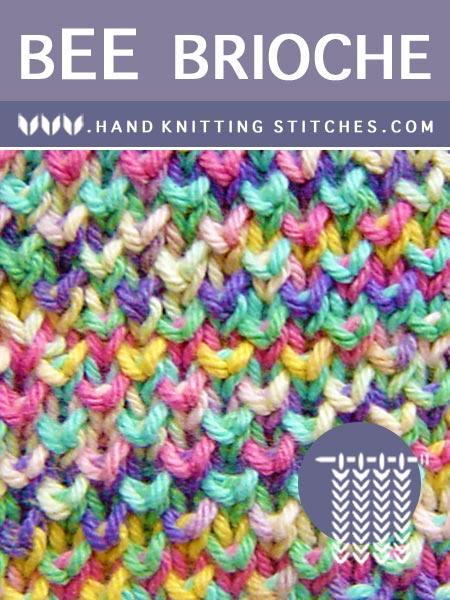 Hand Knitting Stitches - Bee Brioche Pattern #handknitting #briocheknitting #knitting