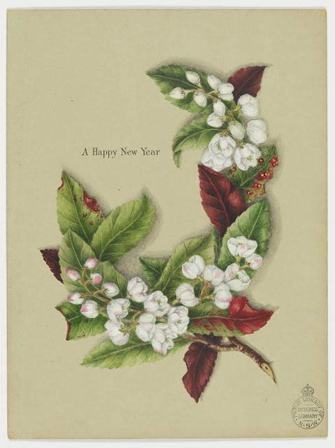 """Christmas Card design depicting white and pink flowers on green and red leaves with the words """"Cookie Wishes You a Happy New Year""""."""