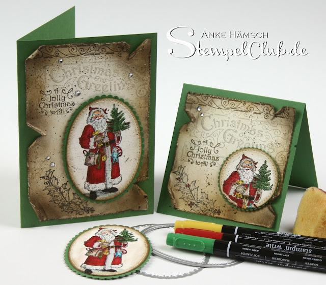 Online Workshop für eine Vintage Weihnachtskarte mit dem Stampin' Up! Stempelset Father Christmas