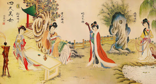Pintura retratando as quatro beldades da história da China