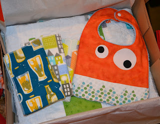 burp cloths and monster bib