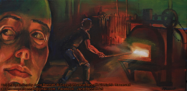 self portrait with blacksmith forging at Eveleigh Works, South Eveleigh by industrial Heritage artist Jane Bennett