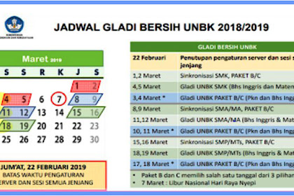 Cek Jadwal dan Ketentuan Gladi Bersih UNBK SMP, SMA, SMK dan PAKET Tahun 2019