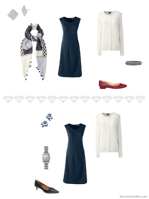 2 ways to accessorize a navy dress for business