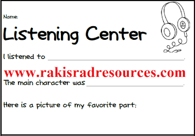 Free listening center accountability sheet from Raki's Rad Resources.