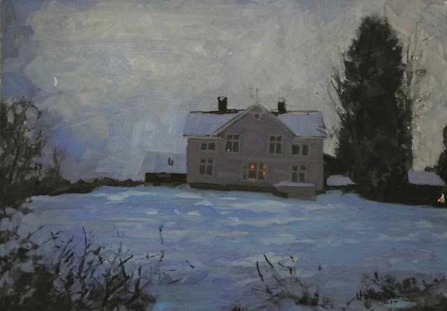 gouache painting of a house at night in winter time. a red star shines in the window