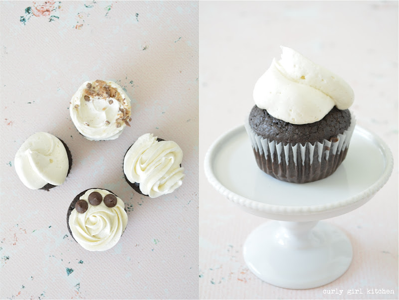 Chocolate Toffee Truffle Cupcakes, Ganache Filled, Vanilla Bean Buttercream, Curly Girl Kitchen