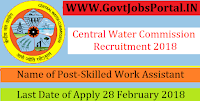 Central Water Commission Recruitment 2018– 22 Skilled Work Assistant