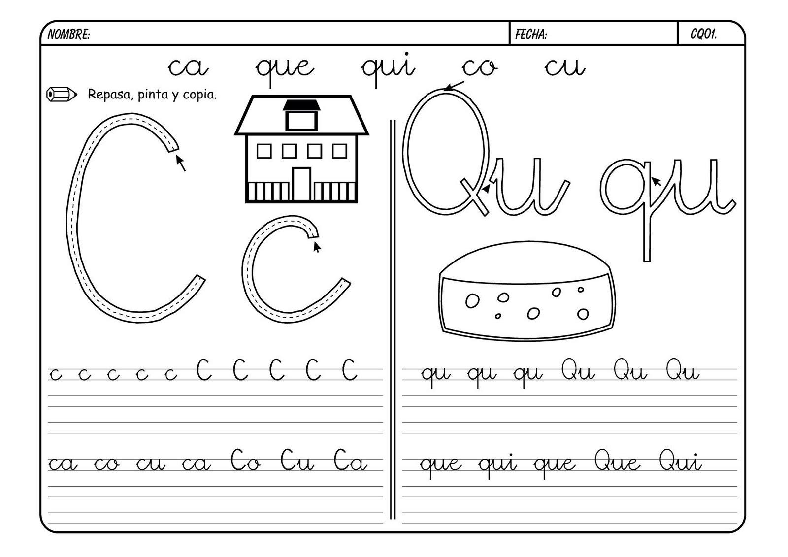 """Dibujos Para Colorear Letra Q: """"Nuestro Pequeblog"""": Fichas Letra Q/q Y Ca, Co, Cu"""