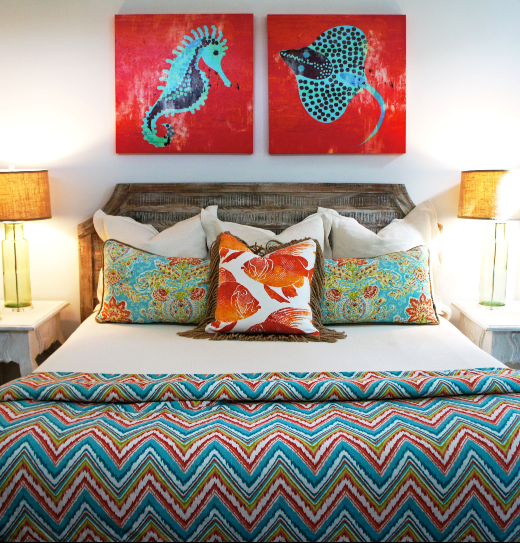 Red and Blue Coastal Bedroom with Sea Life Art