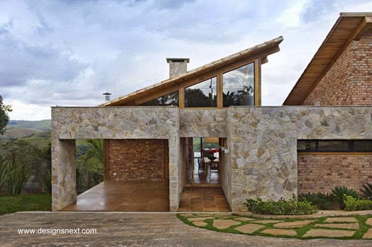 Casa contemporánea de ladrillos y piedra