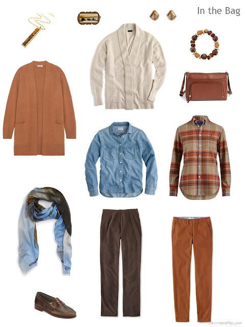 Six-pack travel capsule wardrobe in rust, brown and denim blue