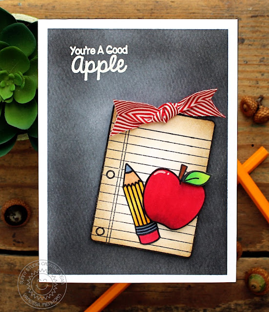 Sunny Studio Stamps: School Time You're A Good Apple Card by Vanessa Menhorn.
