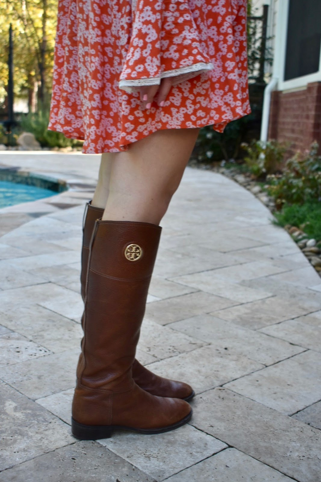Dress: Free People Riding Boots: Tory Burch (similar) Monogram Necklace:  Local Boutique (similar)