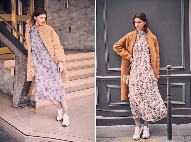 Девушки в светлых пальто с легким цветочным платьем