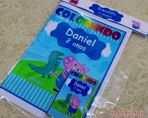 Lembrancinha de aniversário kit de colorir george pig