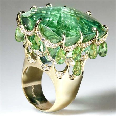 Nhẫn vàng Beryl Peridot Diamond