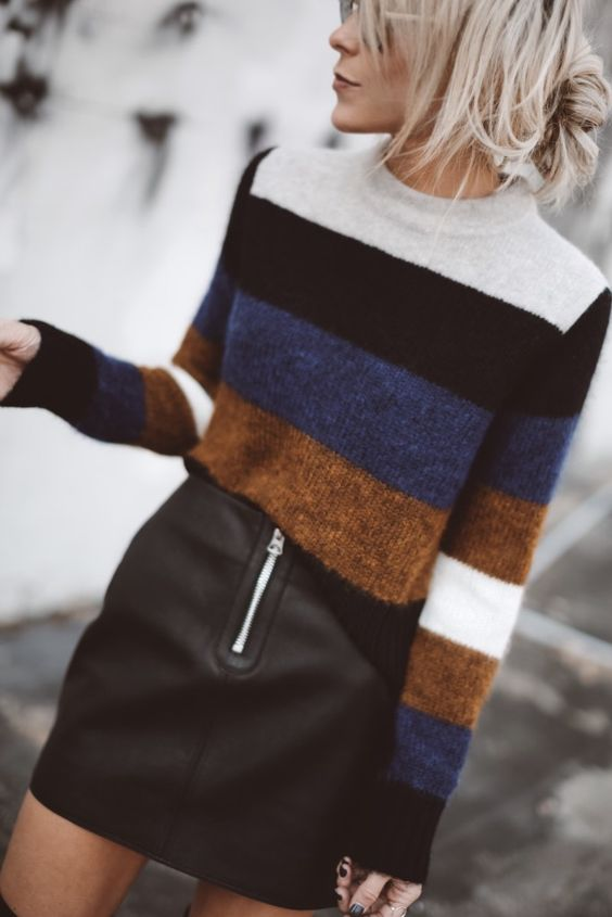 simple fall outfit / stripped sweater + leather skirt
