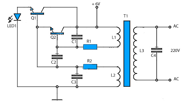 6V to 220V schematic circuit diagram
