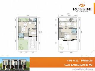 Denah rumah cluster Rossini tipe L7 Premium