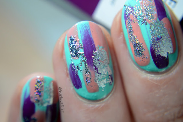 holograpic nail design distressed  bright furious filer