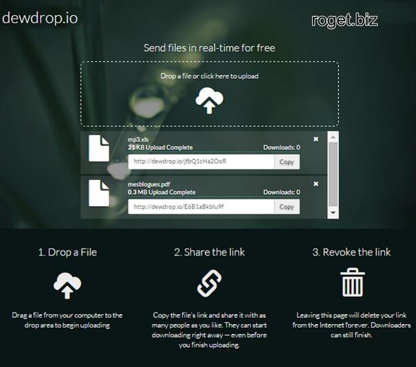 Dewdrop : envoi de fichier(s) et partage par lien(s) url