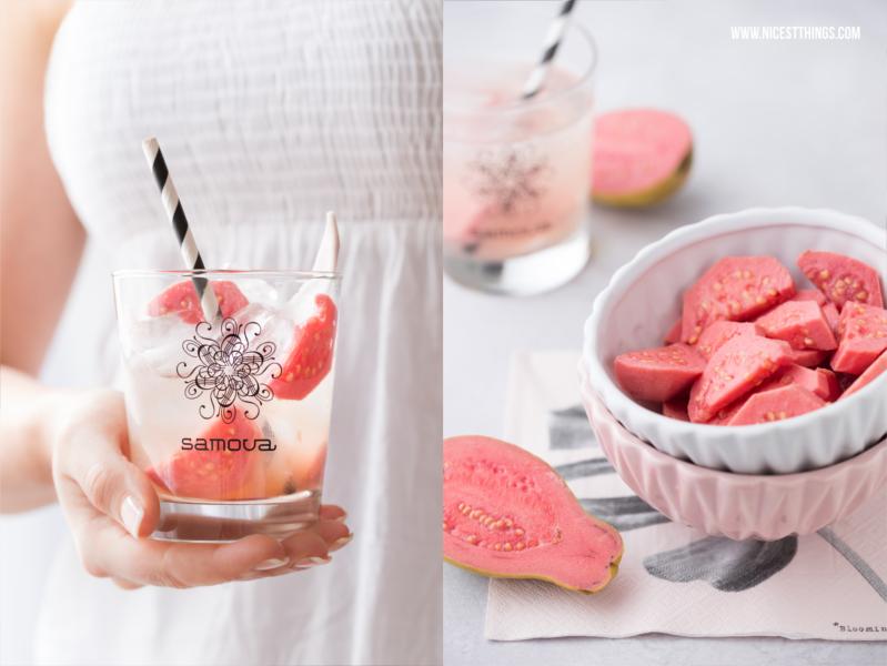 Frische Guave mit rosa Fleisch im Eistee