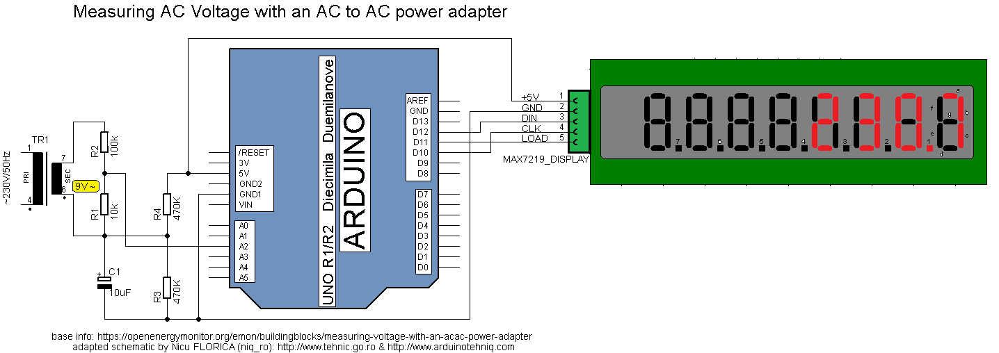 Arduino tehniq measuring ac main supply voltage with