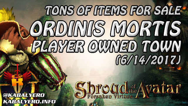 Ordinis Mortis, Tons Of Items For Sale (6/14/2017) 💰 Shroud Of The Avatar Market Watch