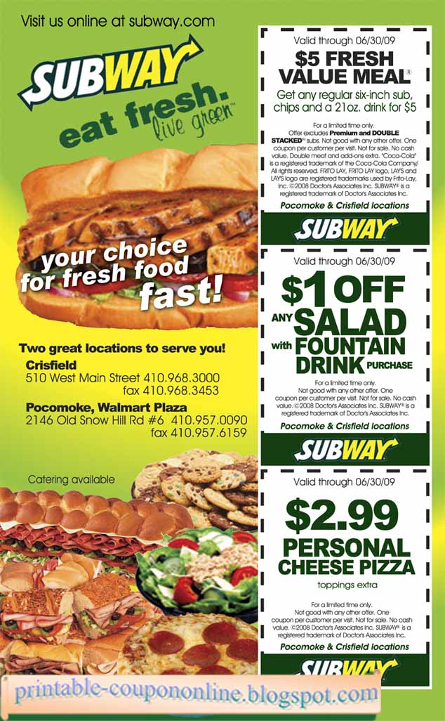 photograph about Subway Menu Printable named Subway menu coupon codes