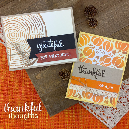 Thank you cards by Jennifer Jackson | Thankful Thoughts Stamp Set, Pumpkin Patch Stencil and Tree Rings Stencil by Newton's Nook Designs #newtonsnook #handmade