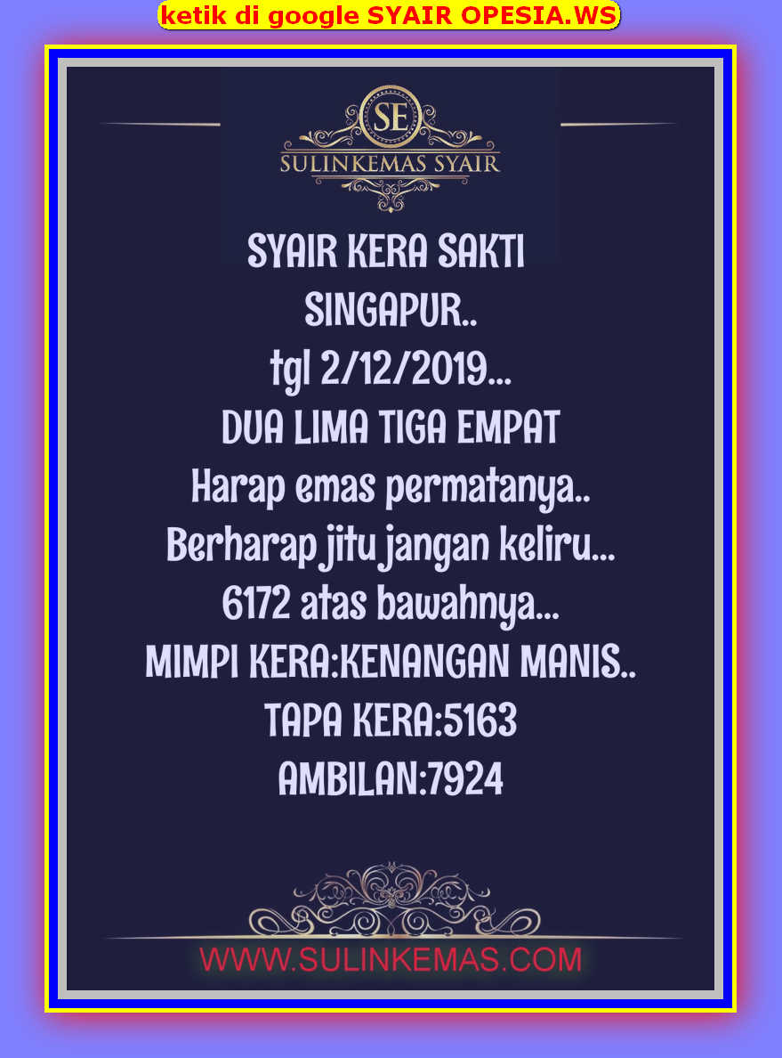 Kode syair Singapore Senin 2 Desember 2019 16