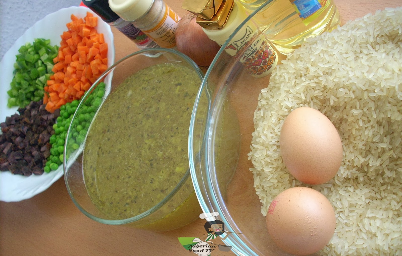 ingredients for Nigerian Egg Fried Rice